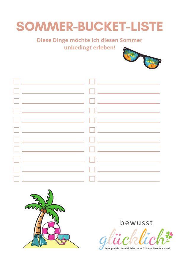 Sommer-Bucket-Liste